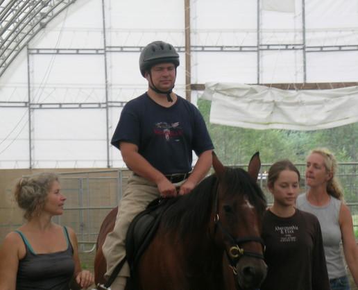 James riding.